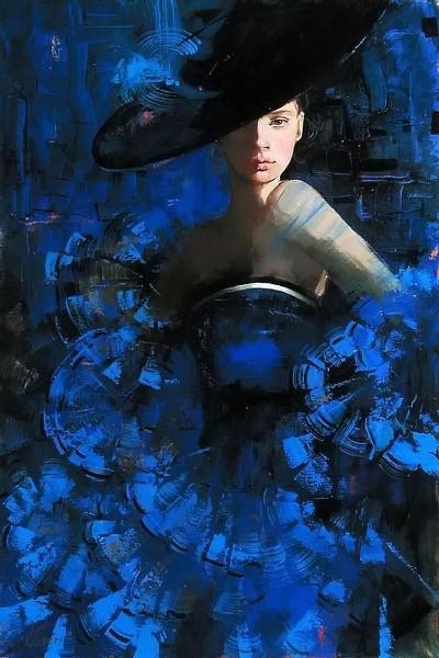 Картина девушка в голубом платье 6