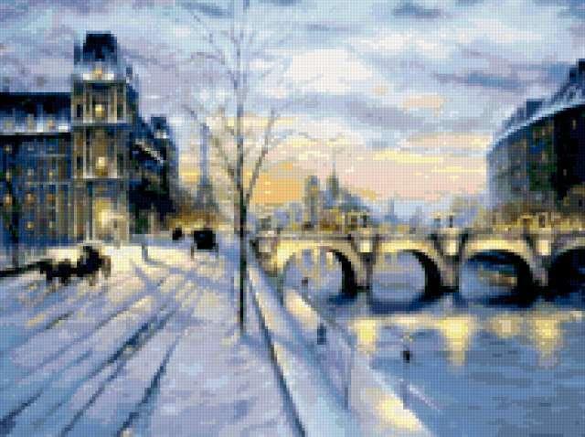 Зимний вечер в городе,