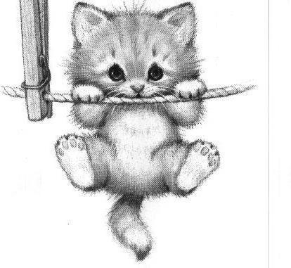 Котенок на веревке, оригинал