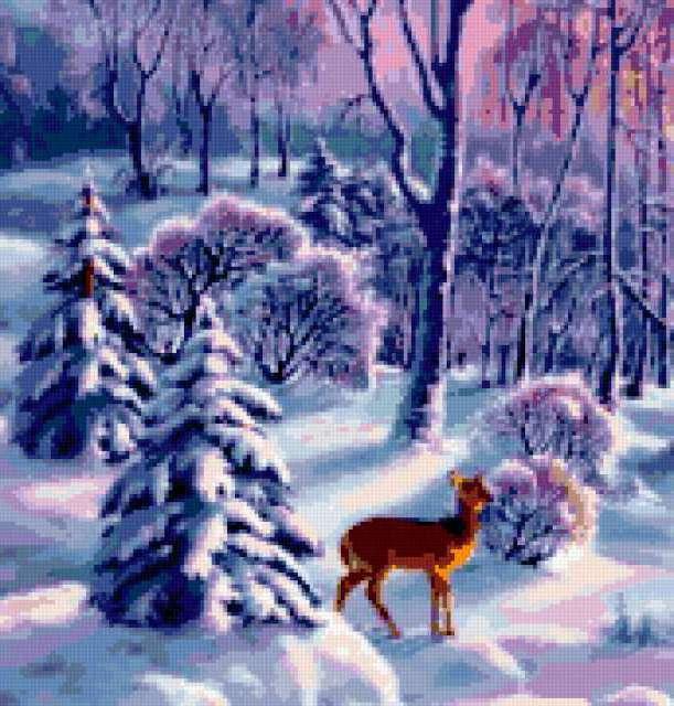 Олень в зимнем лесу,
