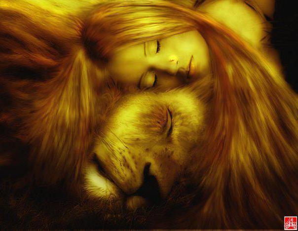 Девушка с левом, девушка лев