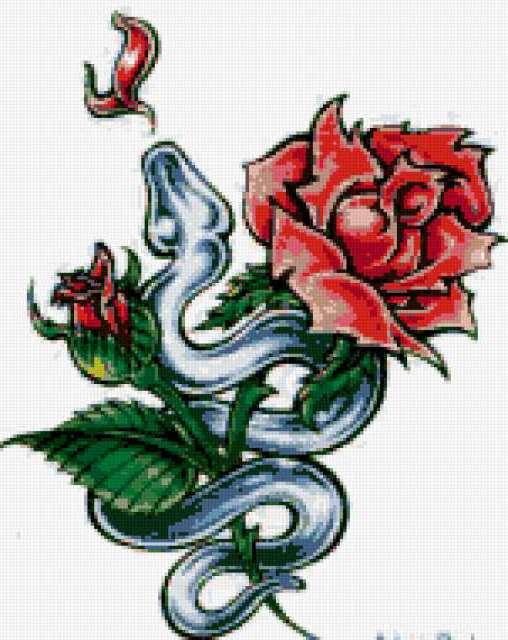 Роза и змея, цыеты, роза, змея