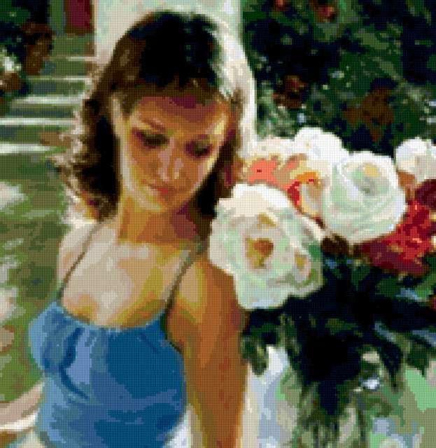 Девушка с розами, предпросмотр