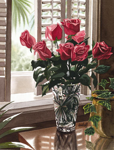 Розы в хрустальной вазе,