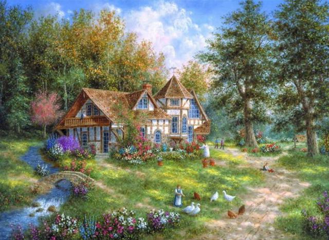 Лето в деревне, домик, деревня
