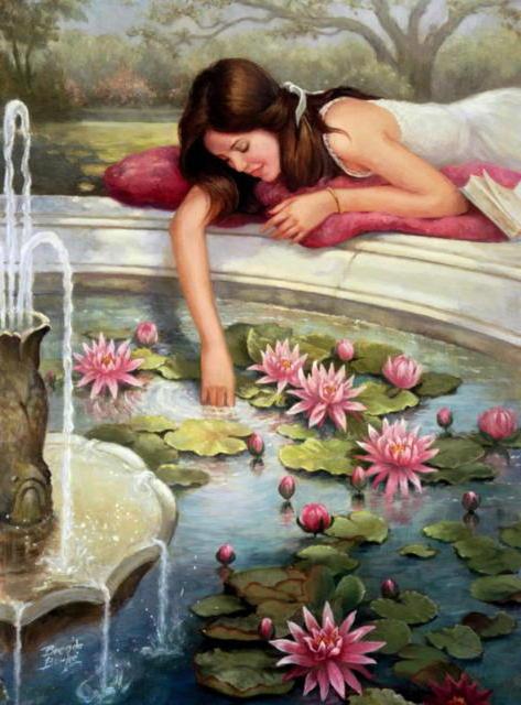 Девушка у фонтана, девушка,