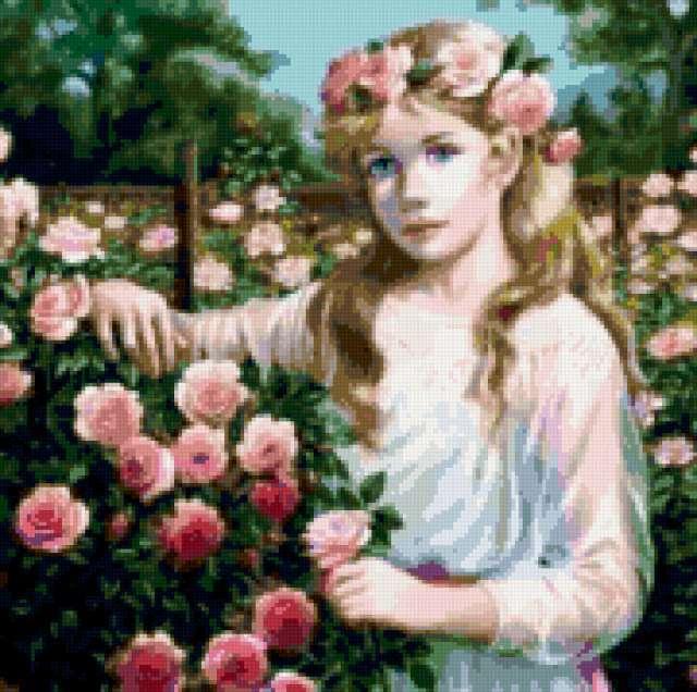 В цветущем саду, девушка,