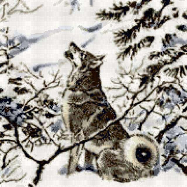 Лайка в зимнем лесу,
