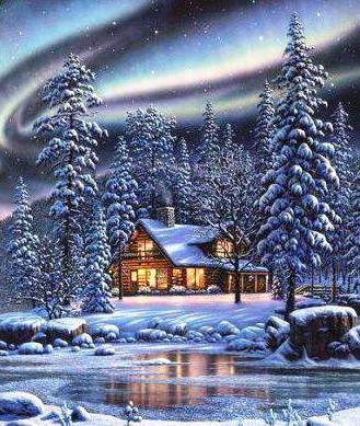 Зимний пейзаж с домиком,