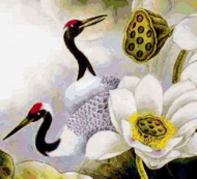 Журавли и цветы лотоса,