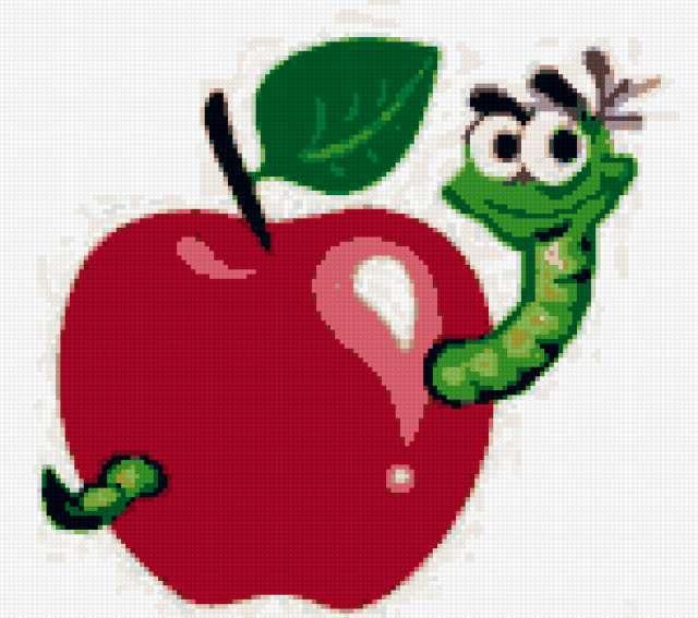 яблоко, червяк, гусеница