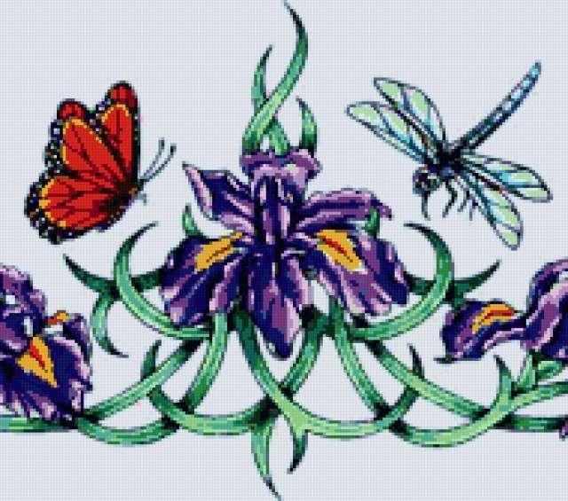 Орнамент - ирисы и бабочка ,