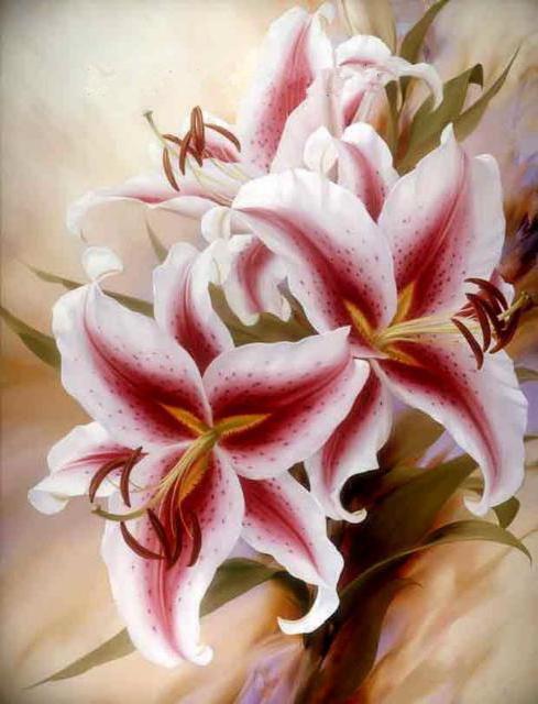 Лилии, лилии, цветы, батик,