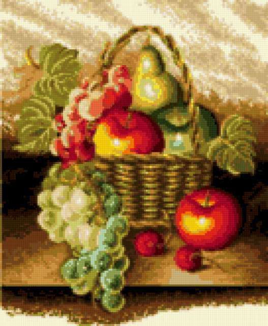 Корзина с фруктами, фрукты,
