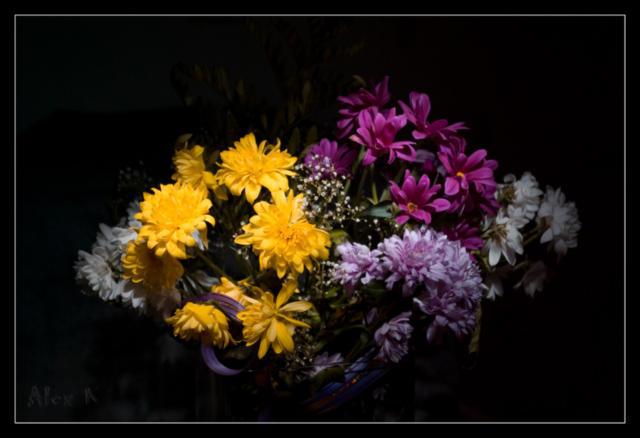 Букет цветов на черном фоне,