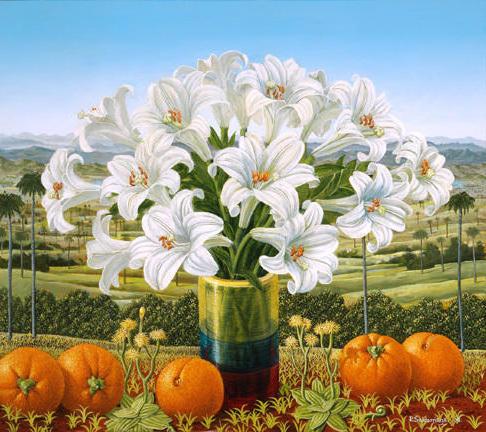 Лилии и апельсины, живопись,
