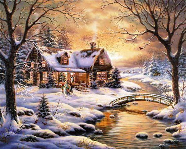 Зимний домик у реки, оригинал