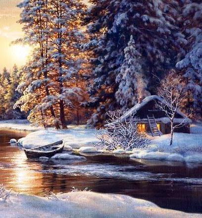 Зимний пейзаж с избушкой у