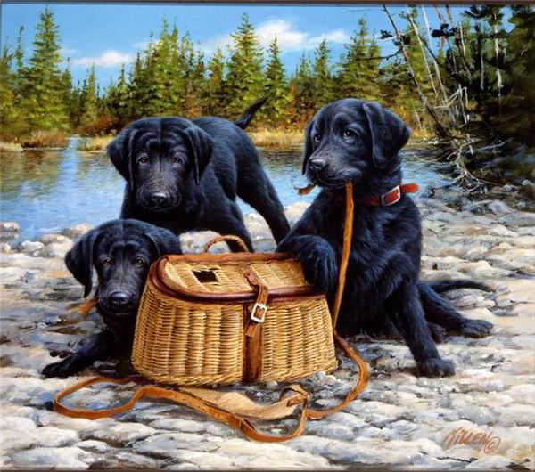 Черные лабрадоры, живопись