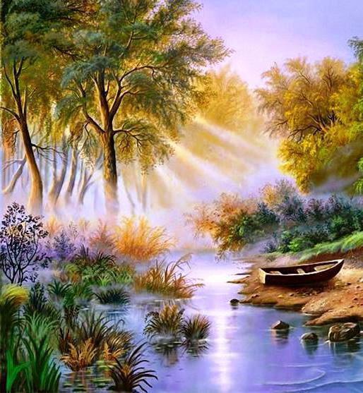 Пейзаж на берегу реки,