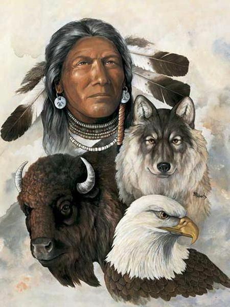 Индеец и животные, оригинал