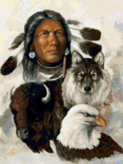 Индеец и животные, индеец,