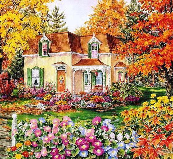 Домик в цветущем саду, пейзаж,