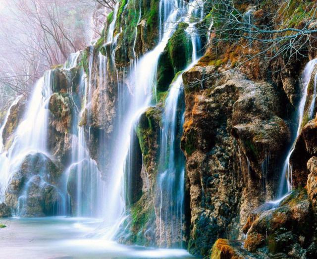 Пейзаж с водопадом, пейзаж,