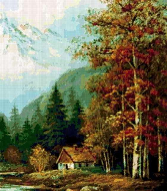 Осенний пейзаж с избушкой,