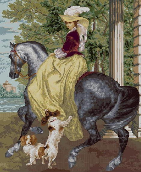 Дама на лошади с собаками,