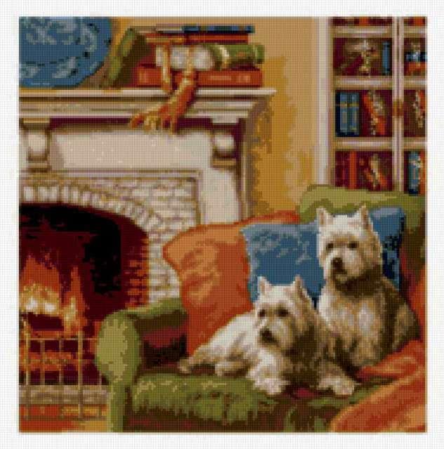 Собаки у камина, предпросмотр