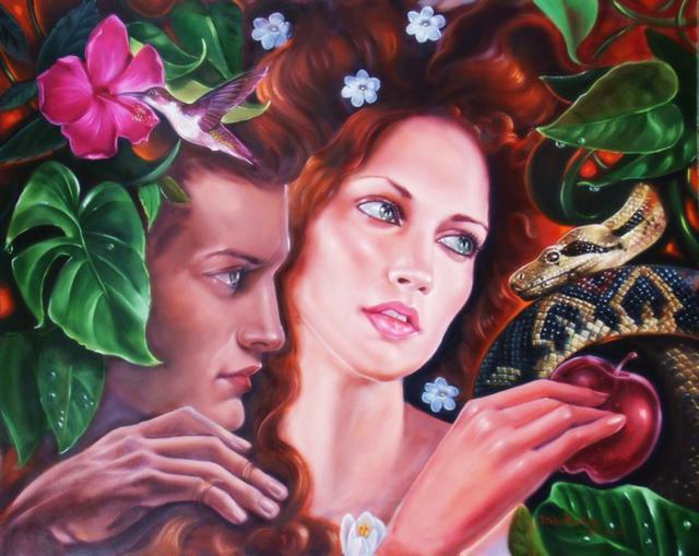 Адам и Ева, живопись,