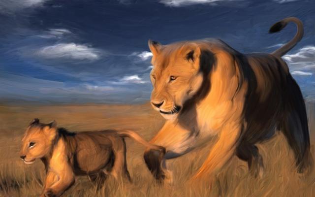 Львы в саванне, оригинал