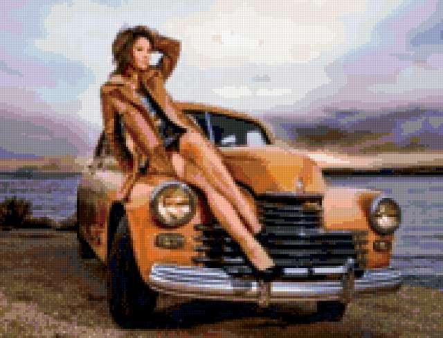 Девушка и ретро автомобиль,