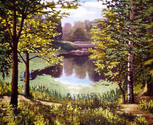 Схема вышивки пейзаж лесного озера
