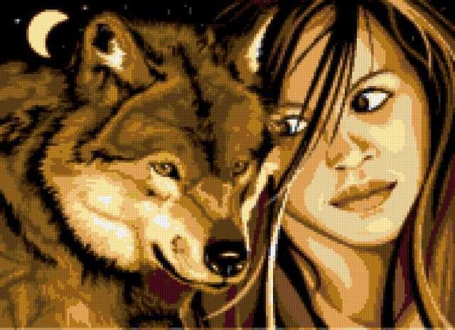 Девушка и волк, предпросмотр