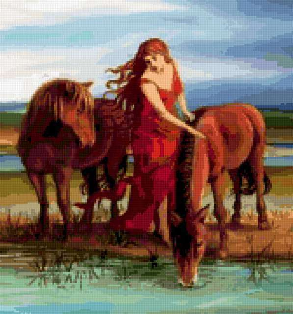 Девушка и кони на водопое,