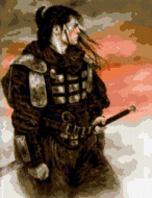 Схема для вышивки крестом самурай