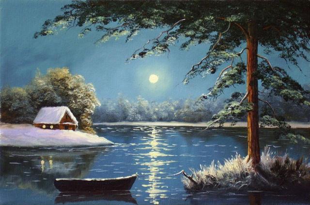 Серия ночной пейзаж пейзаж река