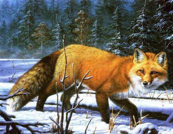Вышивки лиса в зимнем лесу оригинал