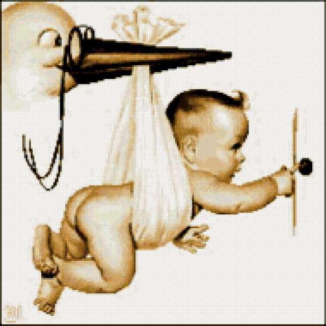 Аист и ребенок, предпросмотр