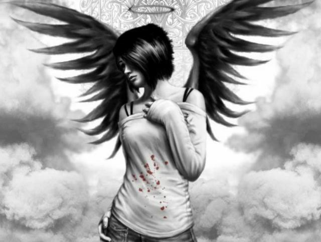 Ангел с чёрными крыльями,