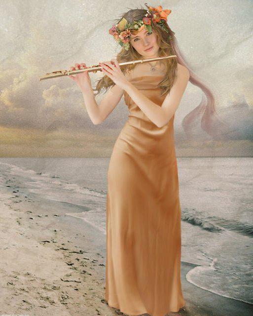 Девушка играющая на флейте,