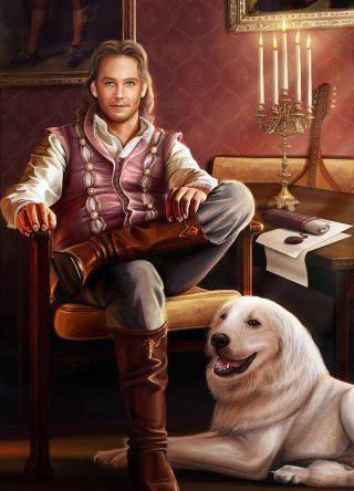 Портрет мужчины с собакой,