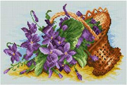Корзина с фиалками, цветы,