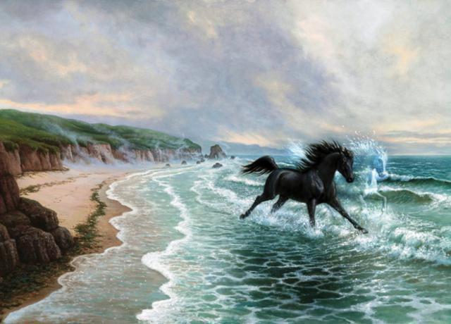 Морской пейзаж с лошадкой,
