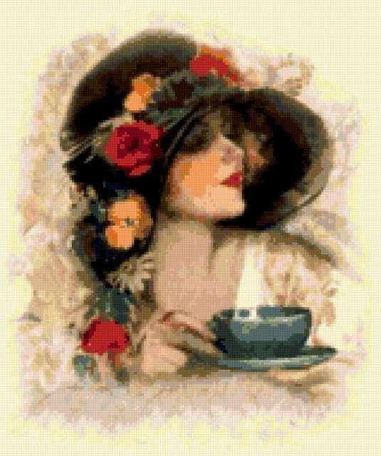 Девушка с чашкой чая,