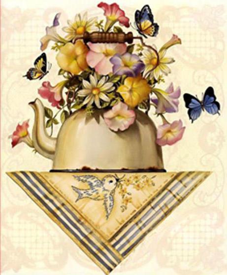 Чайник с цветами, натюрморт,