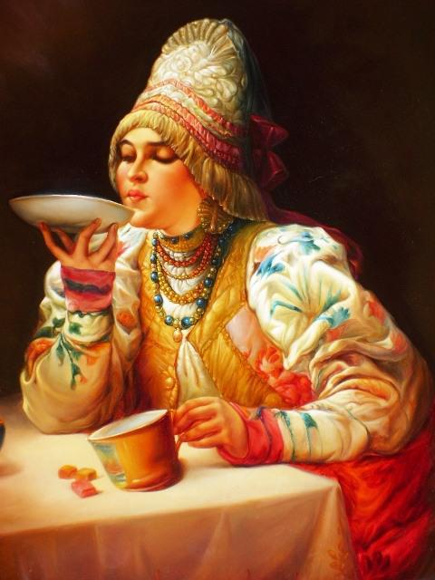 Чаепитие, девушка, живопись