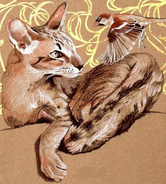 Кошка и воробей, оригинал